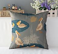 "43cm*43cm 17""*17"" Pelican Cotton / Linen Cotton&linen Pillow Cover / Throw Pillow With No Insert"