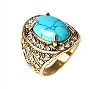 Fashion luxury  style turquoise plating alloy diamond ring