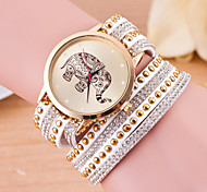 Women's Small Round Dial Diamante Mushroom Circuit Flocking Band Quartz Watch