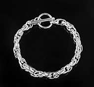 Fashion Circle 925 Silver Sterling Party Chain & Link Bracelets For Woman&Lady