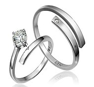 Hot sale 2pcs CZ Stone Sterling Silver Ring Couple Rings Wedding For Woman&Man