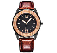 sinobi® femme tournesol en or rose cadran noir montres bracelet en cuir