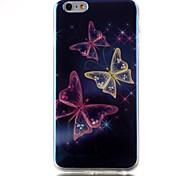 caso de volta suave padrão de borboleta TPU blu-ray capa para o iPhone 6s 6 plus / iphone mais