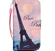 Crooked Tower Pattern PU Leather Material Flip Card Phone Case for iPhone 4/4S