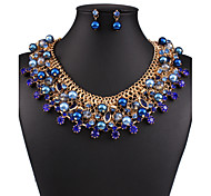 European and American fashion luxury temperament all-match Crystal Gemstone pearl diamond necklace earrings set 0200#
