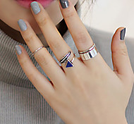European Style Fashion Style Metal Leaf Triangle Rings Set