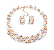 European Style Fashion Imitation Pearl Bridal Necklace Earring Suit