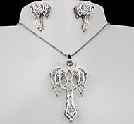 European and American fashion hollow titanium steel silver anchor CZ Earrings Necklace Set