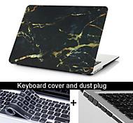 """3 in 1 zwart marmeren textuur geval dekking + toetsenbord cover + stof plug voor MacBook Pro 13.3 """"/15.4"""""""