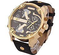 Men's Military Fashion Dual Time Zones Calendar Leather Strap Quartz Watch Cool Watch Unique Watch