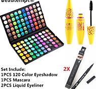 120 Colors Professional Eyeshadow Palette&Black Lasting Extension Thick Curling Mascara&2X Waterproof Liquid Eyeliner