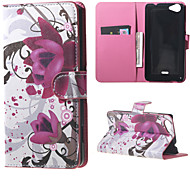 Purple Flowers  Card Holder Leather Stand Case for Wiko Rainbow Jam
