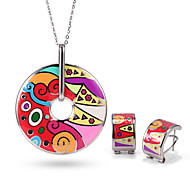 Stainless Steel Woman Jewelry Sets Vintage Elegant Colorful Flower Silver Plated Enamel Jewelry Set OSS-068S-RB