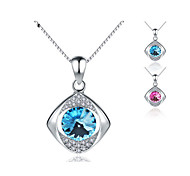 Jazlyn® Platinum Plated 925 Sterling Silver Swaroski Elements Crystal Square Eyes Box Chain Women's Necklace