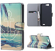 Beach and Anchor Magnetic Leather Wallet Handbag Book Cover Case For Flip Huawei ascend G7