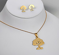 European and American fashion titanium steel golden tree earrings Necklace Set