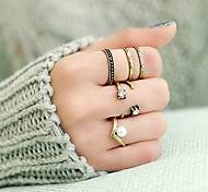 Retro Fashion Punk Style Imitation Pearl Rhinestone Ring Set
