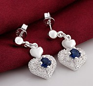 Heart Drop Earrings Jewelry Women Heart Wedding Party Daily Casual Zircon Silver Plated 2pcs Silver