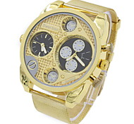 Men's Military Fashion Dual Time Zones Gold Steel Quartz Watch