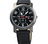 IE-LY Male Quartz Watch with Decorative Sub-dials Leather Strap Cool Watch Unique Watch