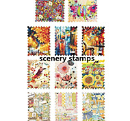 1pcs Nail Water Transfer Scenery Stamps Nail Sticker