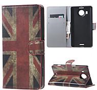 annata uk flag raccoglitore dell'unità di elaborazione di caso del basamento di cuoio per Microsoft Nokia Lumia 950xl n950xl