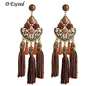 D Exceed Hot Vintage Tassel Earrings with Water Drop Acrylic Gemstone Carved Alloy Rose Flower Drop Earrings for Women