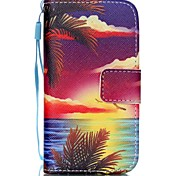 Ocean Sunset Pattern PU Leather Material Flip Card Phone Case for iPhone 4/4S