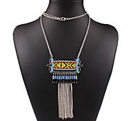 Women's Vintage National Wind Tassel Long Necklace