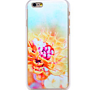 Yellow Flower Pattern Transparent PC Back Cover for iPhone 6
