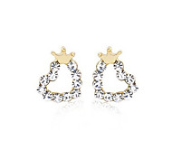 Stud Earrings Ear Cuffs Crystal Silver Plated Heart Heart Crown Golden Jewelry Party Daily Casual 2pcs