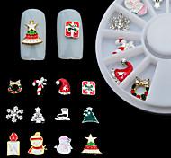 12PCS Christmas Nail Jewelry Decoration Metal Material