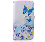 Blue butterfly Painted PU Phone Case for iphone5/5S