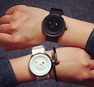 Masculino Mulheres Casal Relógio de Moda Quartzo Silicone Banda Preta Branco