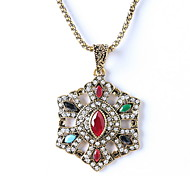 Pentagram Colorful Pendant Necklace Diamond Wedding Jewelry