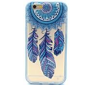 2-in-1 campanula blauen Federn Muster TPU rückseitige Abdeckung mit pc Autostoßfest Hülle für iPhone 6 / 6S