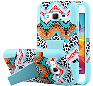 Silicone Gel Rubber Case With PC Stand cover Skin For Samsung Galaxy Core Prime (Assorted Colors)