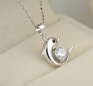 925 Sterling Silver Dolphins Love Pendant Necklaces