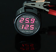 CARCHET Car Cigarette Lighter Digital Voltmeter Thermometer LED 12V/24V red