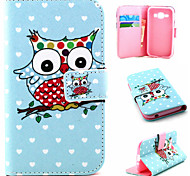 Owl Pattern PU Material Flip Phone Case for Samsung GALAXY G360/J1/G5308/9082
