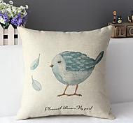 "43cm*43cm 17""*17"" Birds Cotton / Linen Cotton&linen Pillow Cover / Throw Pillow With No Insert"