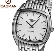 EASMAN Men's Classical White Sapphire Dial Round Shape Stainless Steel Quartz Watch Swiss Wristwatch