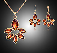 Lucky Doll Women's All Matching Crystal Rose Gold Plated Zirconia Flower Necklace & Earrings Jewelry Sets