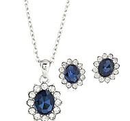 Hot Fashion Oval Zircon Pendant Necklace Drop Earring Jewelry Set