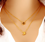 Wholesale Women Necklace European Style Star Moon Chain Necklace