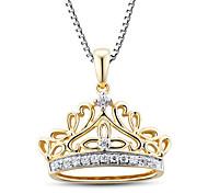 damesmode sterling zilver bezet met zirkoon kroon hanger met z box ketting