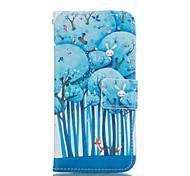 padrão de floresta de couro pu caso de corpo inteiro com slot para cartão para o iphone 6 6s plus / iphone mais