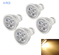 YouOKLight® 4PCS GU10 4W Dimmable 400lm 3500K Warm Light 4-LED Lamp- Silver (AC 110V)