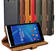 Luxury PU Leather Flip Case Phone Cover Cases With Wallet For Sony Xperia Z2 (Assorted Colors)