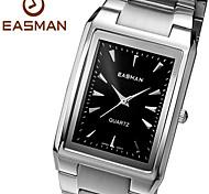 EASMAN Men's Black Sapphire Dial Square Shape Stainless Steel Calendar Quartz Wristwatch